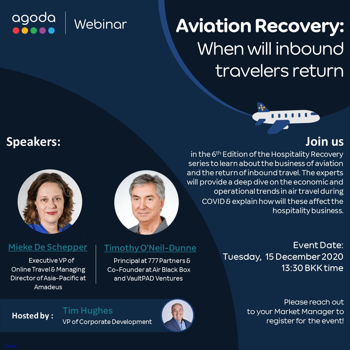 December 15, 2020 Agoda Webinar / Aviation Recovery: When will inbound travelers return