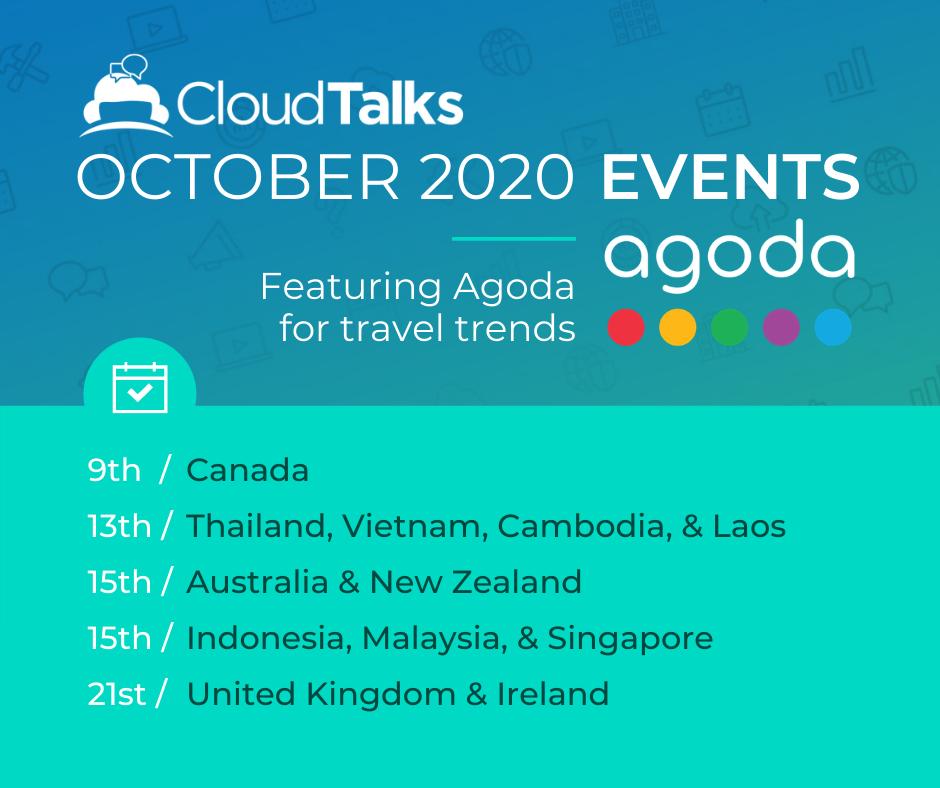 October 13th, 15th, 21st: Cloudtalks: Agoda/ Cloudbeds